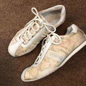 Coach logo tan & white athletic shoes sneakers 6.5